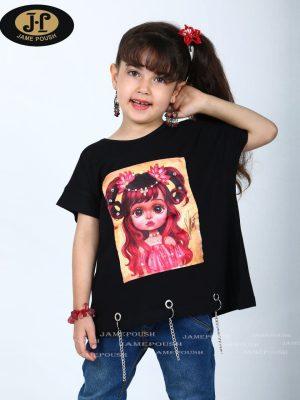 تی شرت تک دخترانه طرح دختر بچه