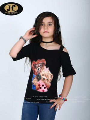 تی شرت تک دخترانه طرح خرس