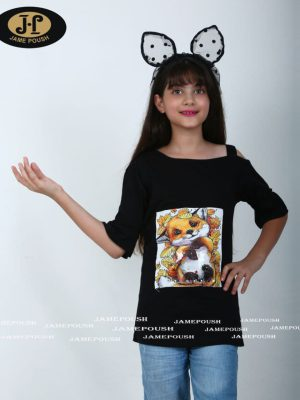 تی شرت تک دخترانه طرح دختر